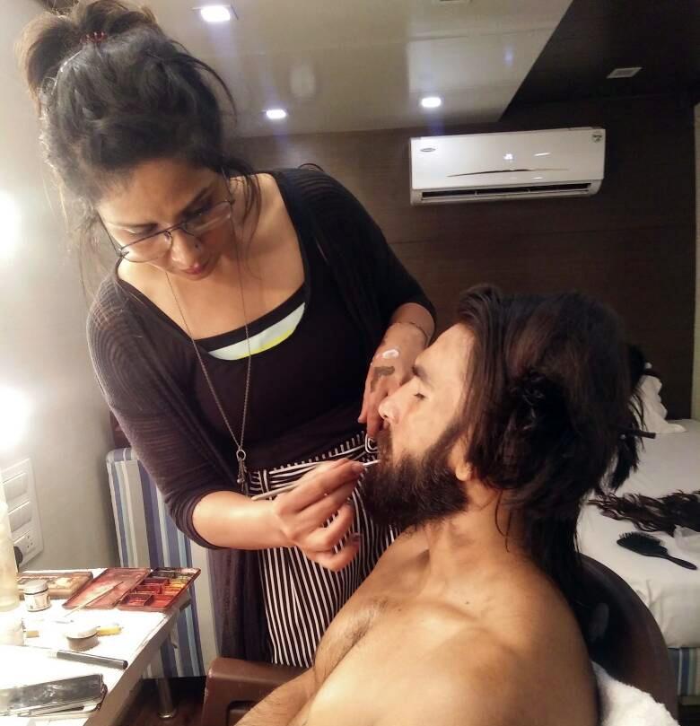 Preetisheel Singh working on Ranveer Singhs look on the sets of Padmaavat. Pic 2.
