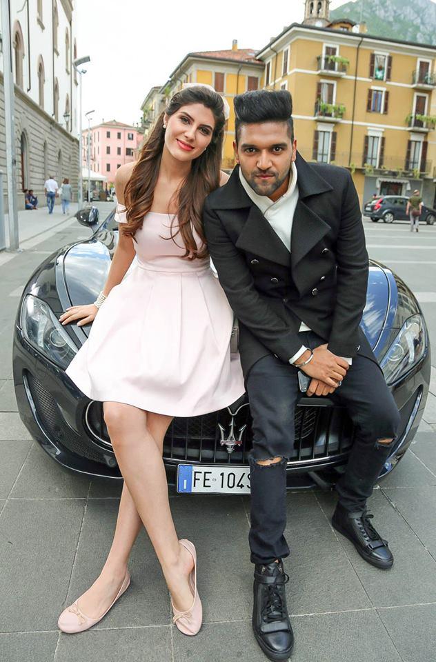 Elnaaz Norouzi and Guru Randhawa on the sets of Made In India